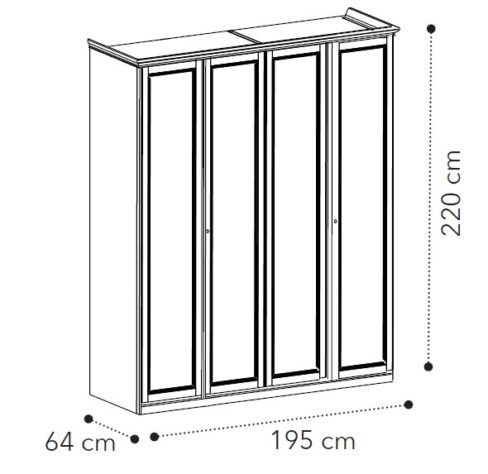 Шкаф 4-дверный Nostalgia Bianco Antico фото 1