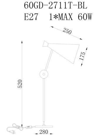 Лампа 60GD-2711T-BL фото 3