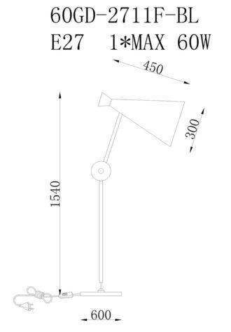 Торшер 60GD-2711F-BL фото 3