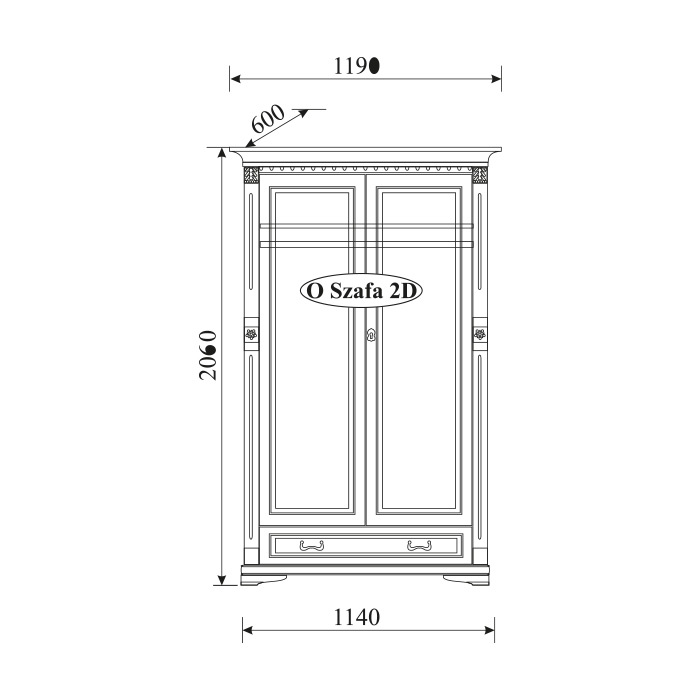 Шкаф 2-дверный Orfeusz O-2D