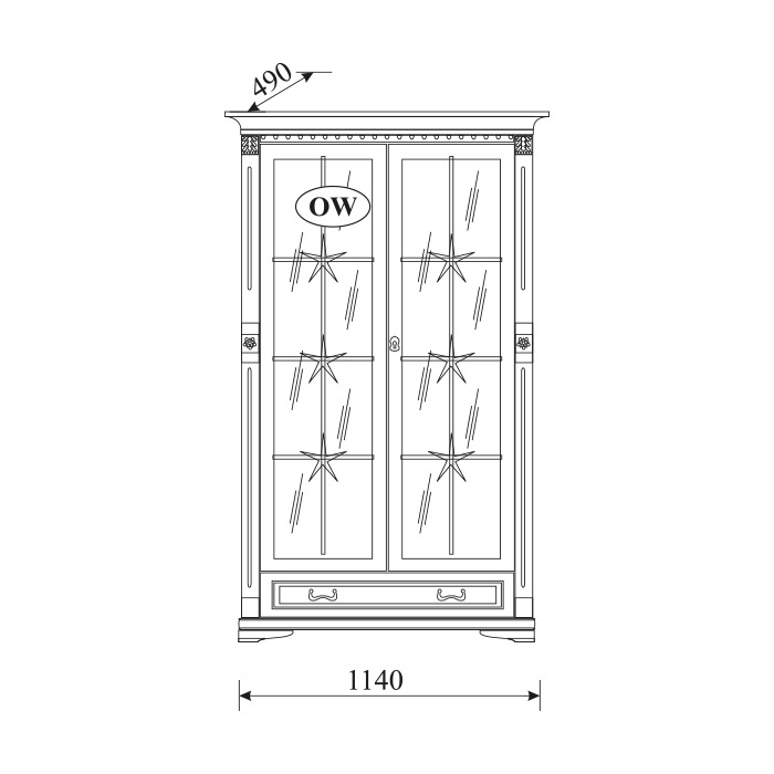 Витрина Orfeusz 2-дверная O-W