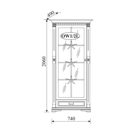 Витрина Orfeusz 1-дверная O-W 1/2 L,P
