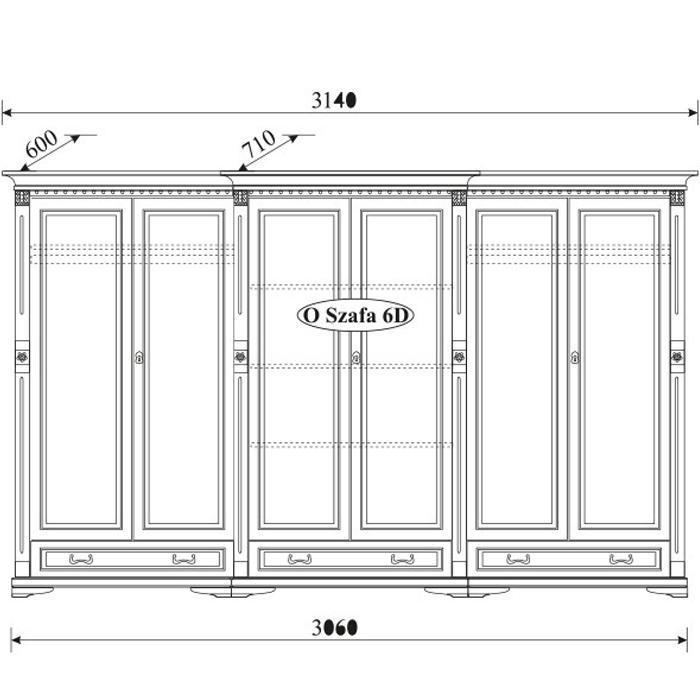 Шкаф 6-дверный Orfeusz O-6D