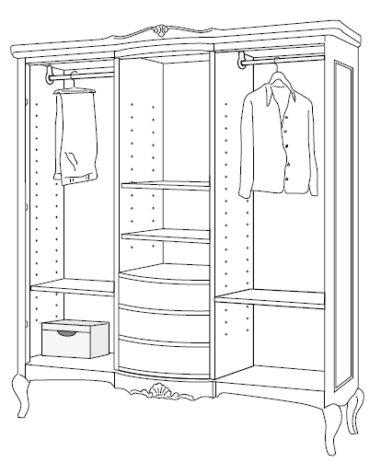 Шкаф 3-дверный с ящиками 2217H фото 2